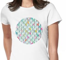 Pencil & Paint Fish Scale Cutout Pattern - white, teal, yellow & pink Womens Fitted T-Shirt