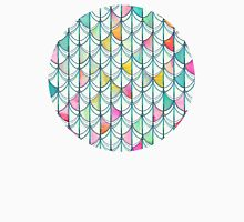 Pencil & Paint Fish Scale Cutout Pattern - white, teal, yellow & pink T-Shirt