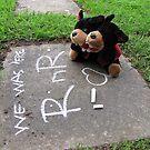 RnR visiting ... chalk drawing we was 'ere by georgiegirl