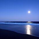 Moonlight at Kawana beach by Chris  Widmer