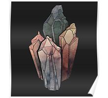 Dark Watercolor Crystals Poster