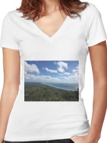 Stunning View of Arthur's Seat Women's Fitted V-Neck T-Shirt
