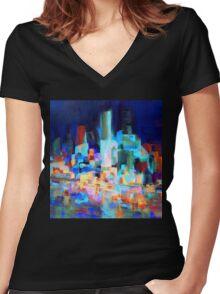 Sydney Harbor Skyline at night 1.0 Women's Fitted V-Neck T-Shirt
