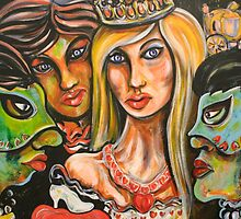 Cinderella with Green Mask of Envy and Blue Mask of Jealousy by Anthea  Slade