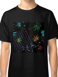 Colorful Marijuana Leaves and Grid Classic T-Shirt