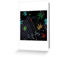 Colorful Marijuana Leaves and Grid Greeting Card