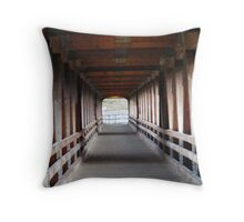 looking inside the River Walk covered Bridge in Littleton NH Throw Pillow