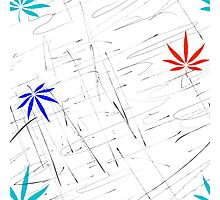 Colorful Marijuana Leaves and Scratches Photographic Print