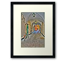 bicycle in the alley Framed Print
