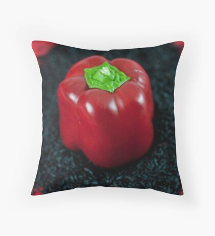 Red Bell Pepper on Black Venus Rice Throw Pillow