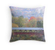 Foliage backs the River Walk Bridge Throw Pillow