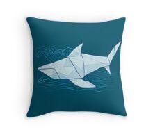 Origami Chomp Chomp On Blue Throw Pillow