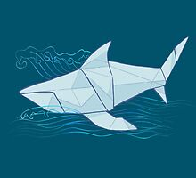 Origami Chomp Chomp On Blue by RileyRiot