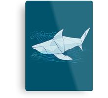 Origami Chomp Chomp On Blue Metal Print
