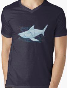 Origami Chomp Chomp On Blue Mens V-Neck T-Shirt