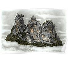 III Three Sisters Blue Mountains Colour Pencil Drawing Poster