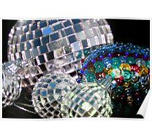 Blue Glitter Balls Poster