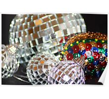 Glitter Ball Decorations - Tree hangings Greeting Card Poster