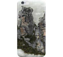 III Three Sisters Blue Mountains Colour Pencil Drawing iPhone Case/Skin