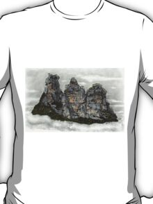 III Three Sisters Blue Mountains Colour Pencil Drawing T-Shirt
