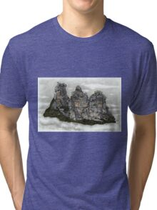III Three Sisters Blue Mountains Colour Pencil Drawing Tri-blend T-Shirt