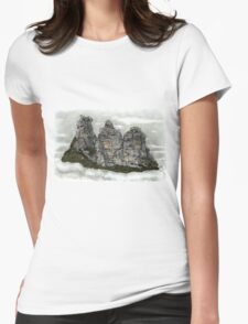 III Three Sisters Blue Mountains Colour Pencil Drawing Womens Fitted T-Shirt