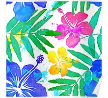Vivid colors bright tropical flowers watercolor pattern Poster