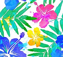 Vivid colors bright tropical flowers watercolor pattern by 1enchik
