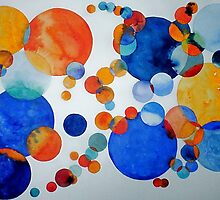 ORANGE AND BLUE SPHERES by ANNETTE HAGGER