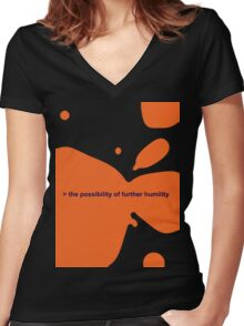 THE POSSIBILITY OF FURTHER HUMILITY Women's Fitted V-Neck T-Shirt
