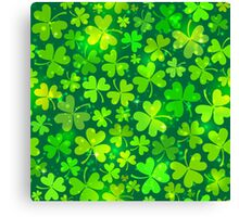 Green magic clovers pattern Canvas Print