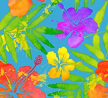 Bright watercolor tropical flowers by 1enchik