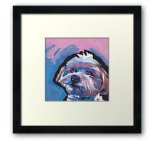Morkie Maltese yorkie Dog Bright colorful pop dog art Framed Print
