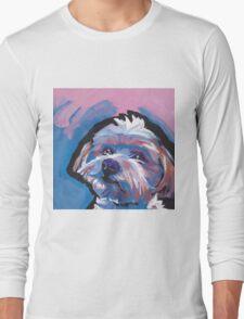 Morkie Maltese yorkie Dog Bright colorful pop dog art Long Sleeve T-Shirt