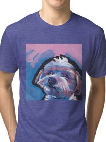 Morkie Maltese yorkie Dog Bright colorful pop dog art Tri-blend T-Shirt