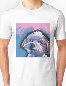 Morkie Maltese yorkie Dog Bright colorful pop dog art T-Shirt