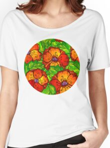 Decorative ornate poppy flowers pattern Women's Relaxed Fit T-Shirt