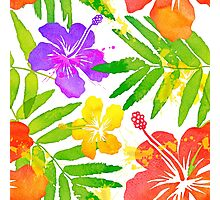 Bright tropical flowers vector summer bouquet Photographic Print