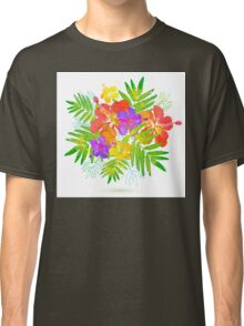 Bright tropical flowers vector summer bouquet Classic T-Shirt