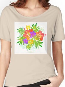 Bright tropical flowers vector summer bouquet Women's Relaxed Fit T-Shirt