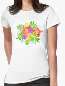 Bright tropical flowers vector summer bouquet Womens Fitted T-Shirt
