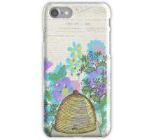 Bees and Blooms III: Watercolor illustrated honeybee & flower print iPhone Case/Skin
