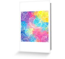 Rainbow triangles with white flowers Greeting Card