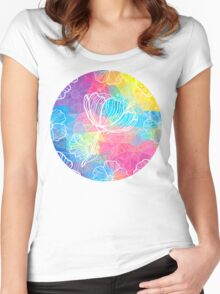 Rainbow triangles with white flowers Women's Fitted Scoop T-Shirt