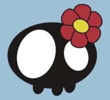 Kawaii Skull - Red Flower One Piece - Short Sleeve