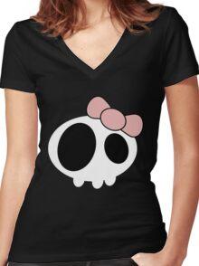 Kawaii Skull - Pink Ribbon Women's Fitted V-Neck T-Shirt