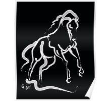 Horse white runner Poster