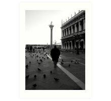 Just him and the birds....... Art Print