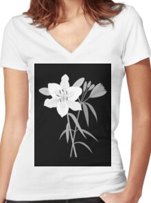 Monochrome Lilies Illustrative Art Women's Fitted V-Neck T-Shirt