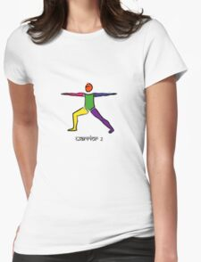 Painting of warrior 2 yoga pose & Sanskrit text. Womens Fitted T-Shirt